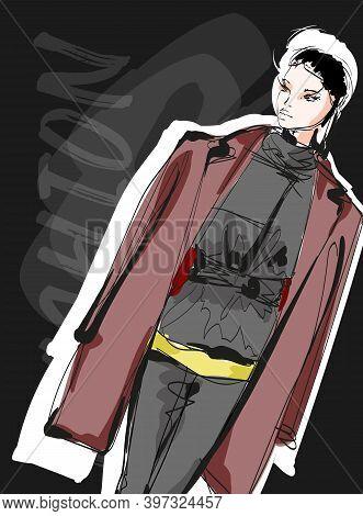 Beautiful Young Brunette Hair Woman In Autumn Coat. Hand Drawn Fashion Girl. Fashion Model Posing. S