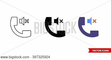 Silent Mode Icon Of 3 Types Color, Black And White, Outline. Isolated Vector Sign Symbol.