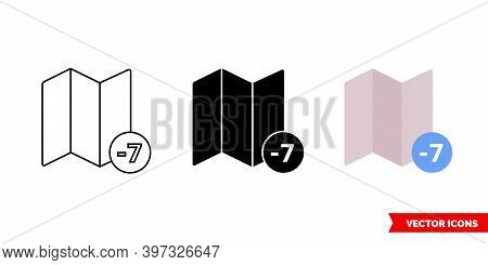 Timezone 7 Icon Of 3 Types Color, Black And White, Outline. Isolated Vector Sign Symbol.