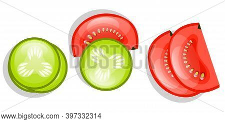 Cucumbers And Tomatoes Are Isolated On A White Background. Circles Of Cucumber And Half A Tomato Sli
