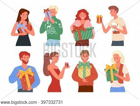 Vector Illustration People Holding Presents, Christmas Gift Boxes. Happy Friends Take And Give Prese