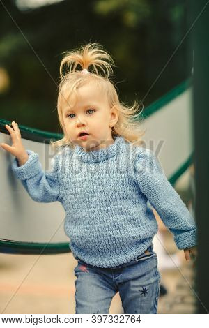 Child To Playgrounds, Having Fun, Close Up