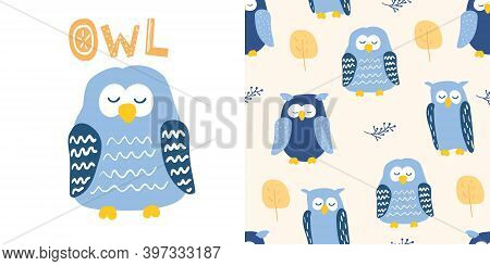 Cute Blue Owl In Cartoon Style. With Owl Lettering. And Seamless Pattern With Owl Characters. Good F
