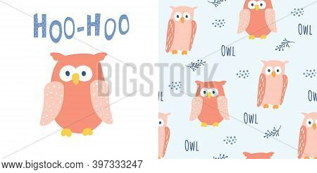 Cute Red Owl In Cartoon Style. With Hoo-hoo Lettering. And Seamless Pattern With Owl Characters. Goo