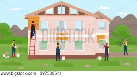 Professional Builders Constructing Modern Private House. Workers Painting Walls With Paint Of House.