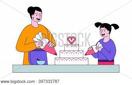 Smiling People Mother And Daughter Making Cake At Table On Kitchen. Mother And Daughter Preparing Bi