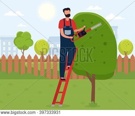 Gardener Working. Male Handyman Character Cutting Tree With Lawn Mower. Backyard Landscaping, Plants