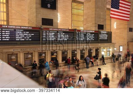 New York, Usa - June 7, 2013: People Hurry In Grand Central Terminal In New York. The Station Exists