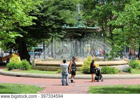Providence, Usa - June 8, 2013: People Visit Burnside Park In Providence. Providence Is The Capital