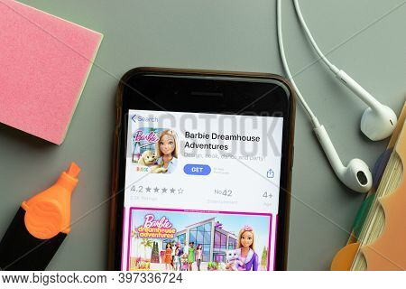 New York, Usa - 1 December 2020: Barbie Dreamhouse Adventures Mobile App Icon On Phone Screen Top Vi