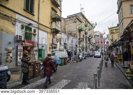 Naples, Italy - December 30, 2018: Narrow Streets In Downtown In Rione Sanita Neighborhood In Naples