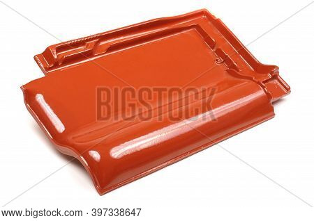 Single New Shinny Red Roof Tile Isolated On The White Background
