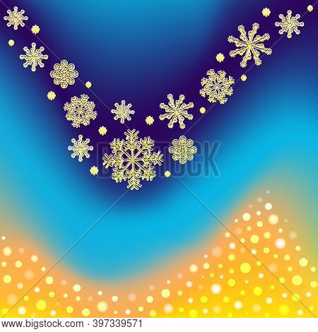Winter Background With Gradient Mesh, Snowflakes And Blurred Dots. Vector Snowfall Greeting Card.