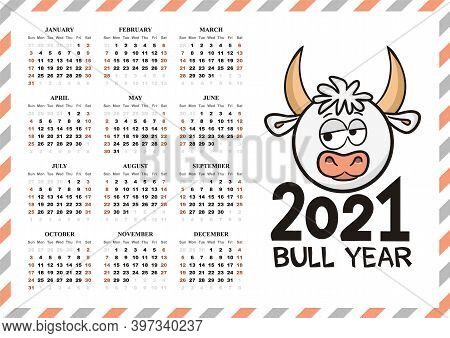 Airmail Calendar Template. 2021 Yearly Calendar. 12 Months Yearly Calendar Set In 2021. Year Of The