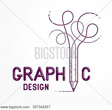 Graphic Design Words With Pencil Instead Of Letter I, Designer And Artist, Vector Conceptual Creativ