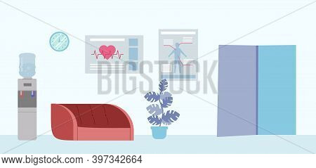 Simple Hospital Indoors Design In Light Colours. Vector Illustration In Cartoon Flat Style With Wate