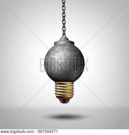 Ideas To Change The World And Disruptive Idea Or Life Changing Renewal Concept As A Wrecking Ball Sh