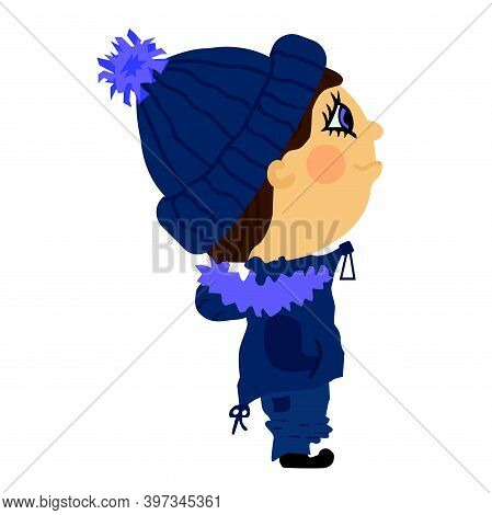 A Guy In A Knitted Blue Hat With A Pompom, In A Blue Ski Suit. Vector Illustration Isolated On White