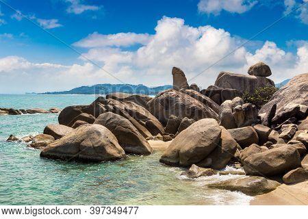 Hin Ta Hin Ya - Grandfather And Grandmother Rock On Koh Samui Island, Thailand In A Summer Day