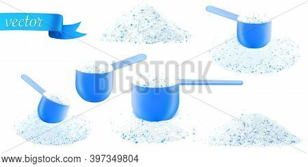 Detergent Shirt. Soap White Texture With Scoop. Liquid Powder In Cup For Washing Machine. Laundry Wa