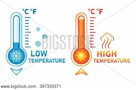 Hot And Cold Thermometer Icon Set. Low And High Temperature On Measuring Sсale. Meteorological Measu