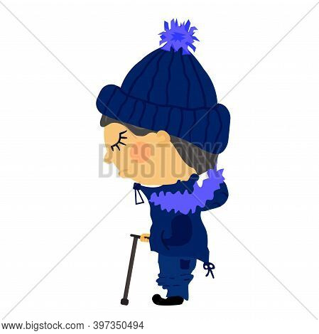 Flat Sad Old Blind Man Stands In Winter Clothes With Fur. A Guy In A Knitted Blue Hat With A Pompom,