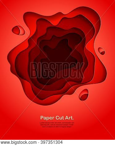 Abstract Red Paper Cutout Curvy Shapes Layered, Vector Illustration In Paper Cut Style. Layout For B