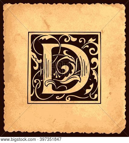 Black Initial Letter D With Baroque Decorations On An Old Paper Background In Vintage Style. Beautif