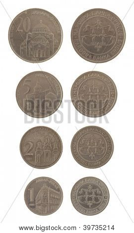 Old Serbian dinar coins isolated on white