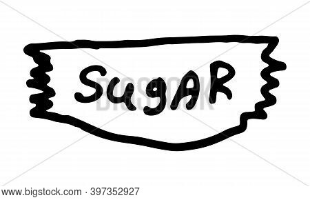 Doodle Sugar Illustration. Simple Outline Drawing. Tea And Coffee Sweetener. Hand Drawn Design Eleme