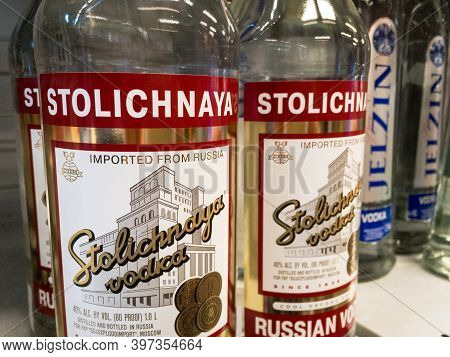 Belgrade, Serbia - November 1, 2020: Stolichnaya Vodka Logo On Some Bottles For Sale. Stolichnaya A