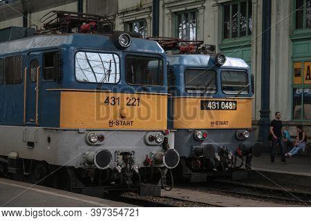 Budapest, Hungary - July 7, 2014: V43 Class Locomotives From Mav Start Passenger Carrier On Main Pla