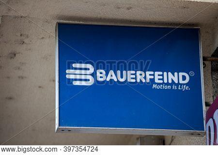 Belgrade, Serbia - August 6, 2020: Logo Of Bauerfeind On Their Local Retailer For Belgrade. Bauerfei
