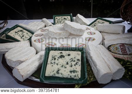 Belgrade, Serbia - July 12, 2019:  President Roquefort And Brie Surrounded By Other French Cheese Br