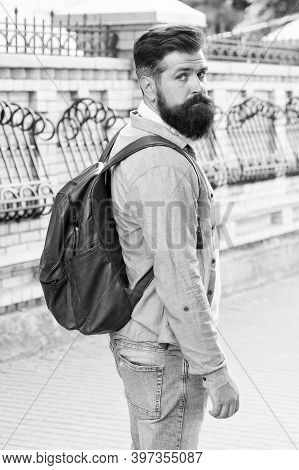 Travel To Make Memories. Bearded Man Travel In Modern City. Hipster With Backpack. Pleasure Travel.