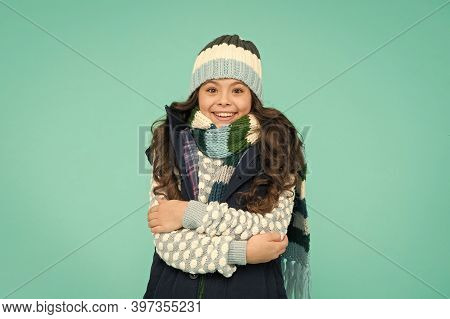 It Is Cold Outside. Child In Woolen Knitted Hat. Kids Tend To Feel Cold More Than Adults. Winter Fas
