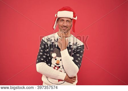 Party With Santa. Handsome Man In Festive Winter Wear. New Year Eve Party. Celebrate Festive Season.