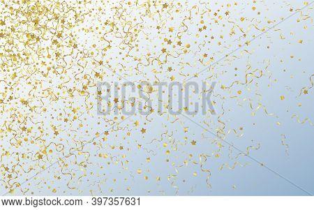 Golden Star Paper Vector Gray Background. Christmas Serpentine Branch. Confetti Swirl Invitation. Ye