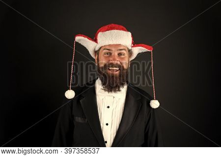 Christmas Spirit Concept. Financial Report. Manager Ready Celebrate New Year. Christmas Party Office