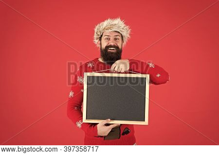 December Discount. Happy Man Hold Empty Blackboard. Happy Winter Holidays. December Holidays. Winter