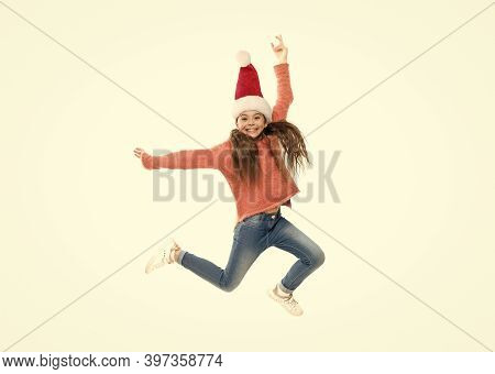 Dance All Night. Adorable Smiling Cute Baby Waiting For Santa. Celebration Concept. Respect Traditio