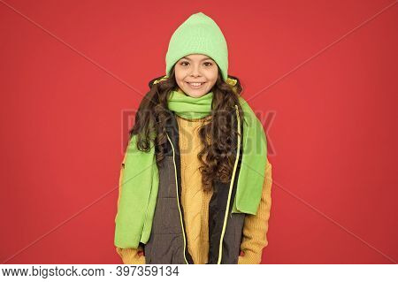 Bright Accessory. Small Adorable Girl In Knitted Hat. Winter Weather Forecast. Wear Warm Clothes. Fa
