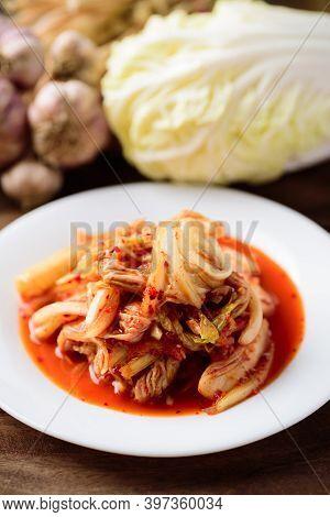 Korean Food, Kimchi Cabbage On White Plate