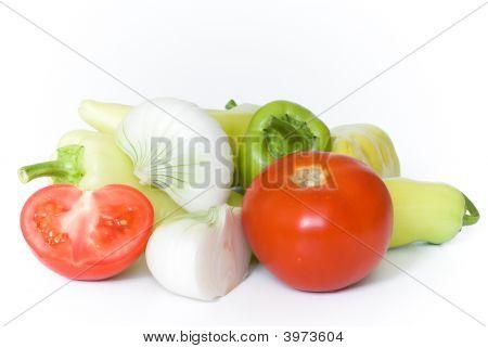 Pepper, Tomato And Onion