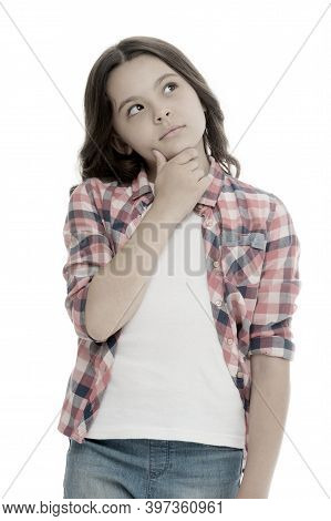 Kid Thoughtful Face Make Decision Isolated White. Child Cute Face Brunette Hair Thinking. Girl Casua