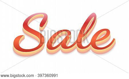Sale. Volumetric, Three-dimensional Text With Glossy Effect Isolated On White Background. Vector 3d