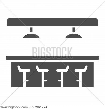 Bar Counter Solid Icon, Bartenders Day Concept, Interior Of Bar Or Pub Sign On White Background, Bar