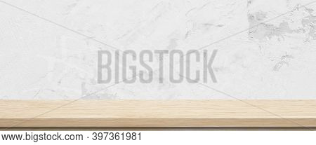 Wood Table And White Wall Background In Kitchen, Wooden Shelf, Counter For Food And Product Display