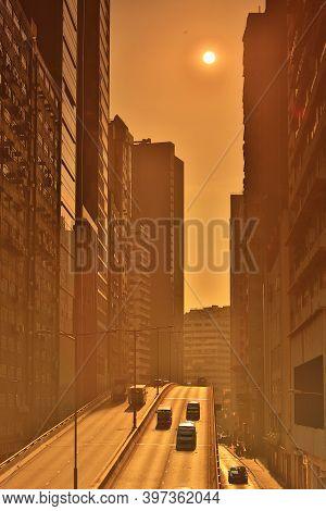 When The Sun Sets Along  Wong Chuk Hang Road, Hk 7 Nov 2020
