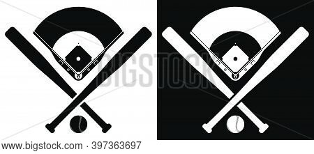 Crossed Sports Baseball Bats With Ball And Silhouette Of Baseball Stadium. American National Sport.